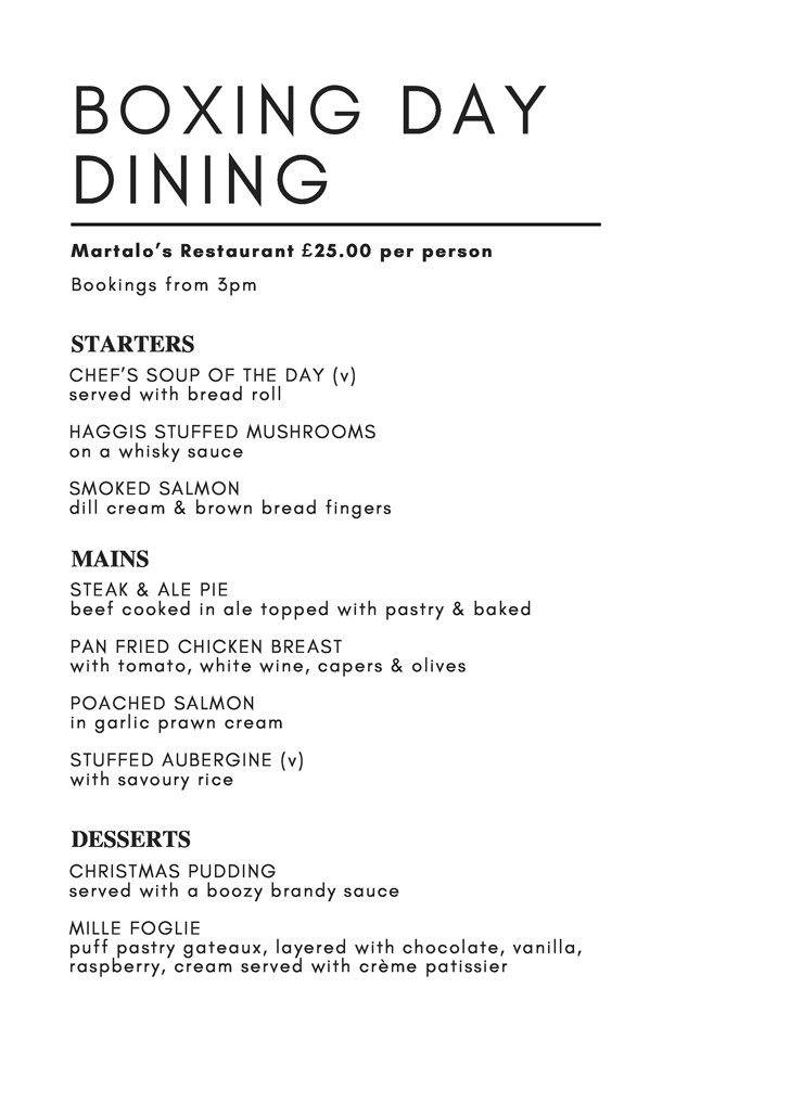 Boxing Day Dining Menu